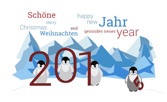 Vier Pinguine bringen das neue Jahr 2015