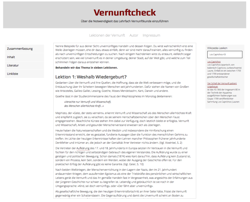 Screenshot vernunftcheck.de