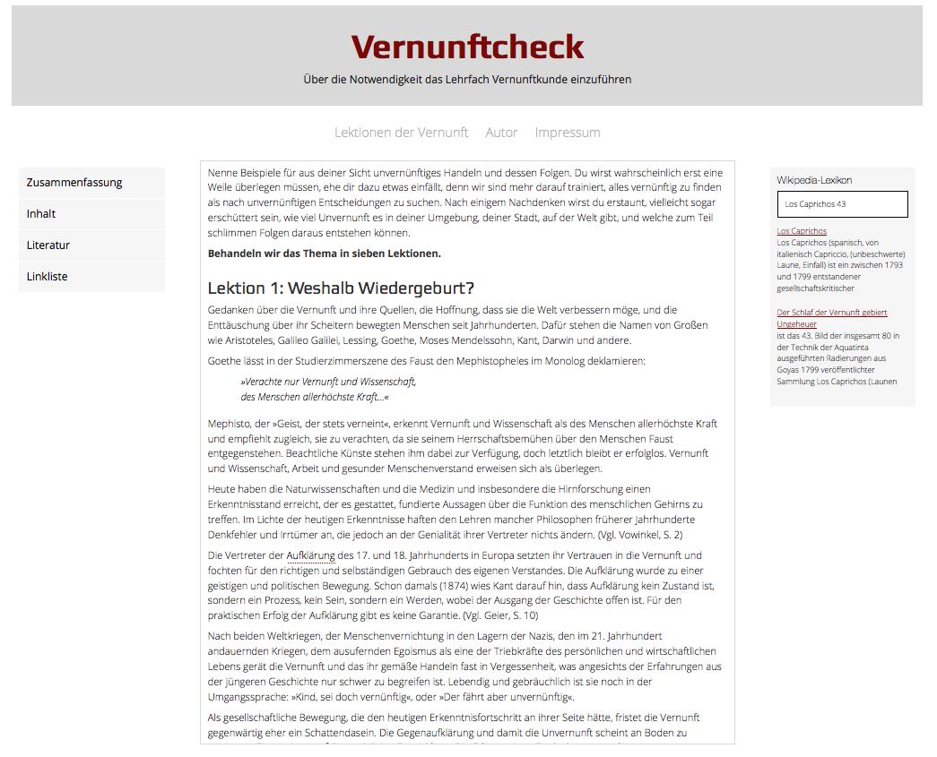 Screenshot vernunftcheck.de