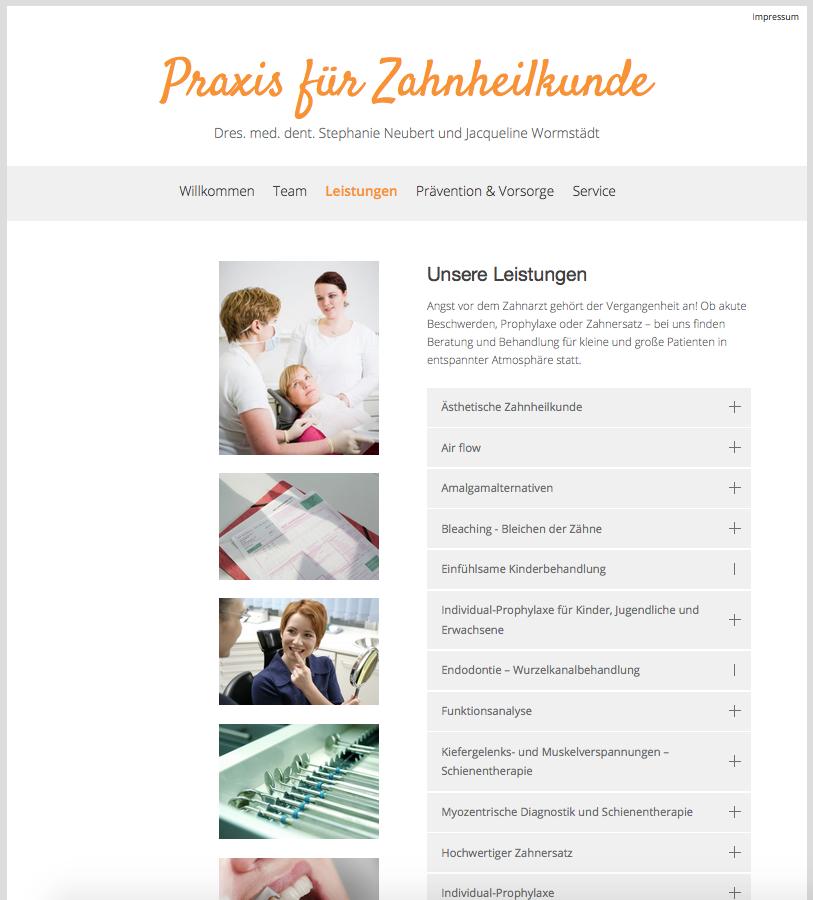 Webseite Praxis für Zahnheilkunde St. Neubert, 2016