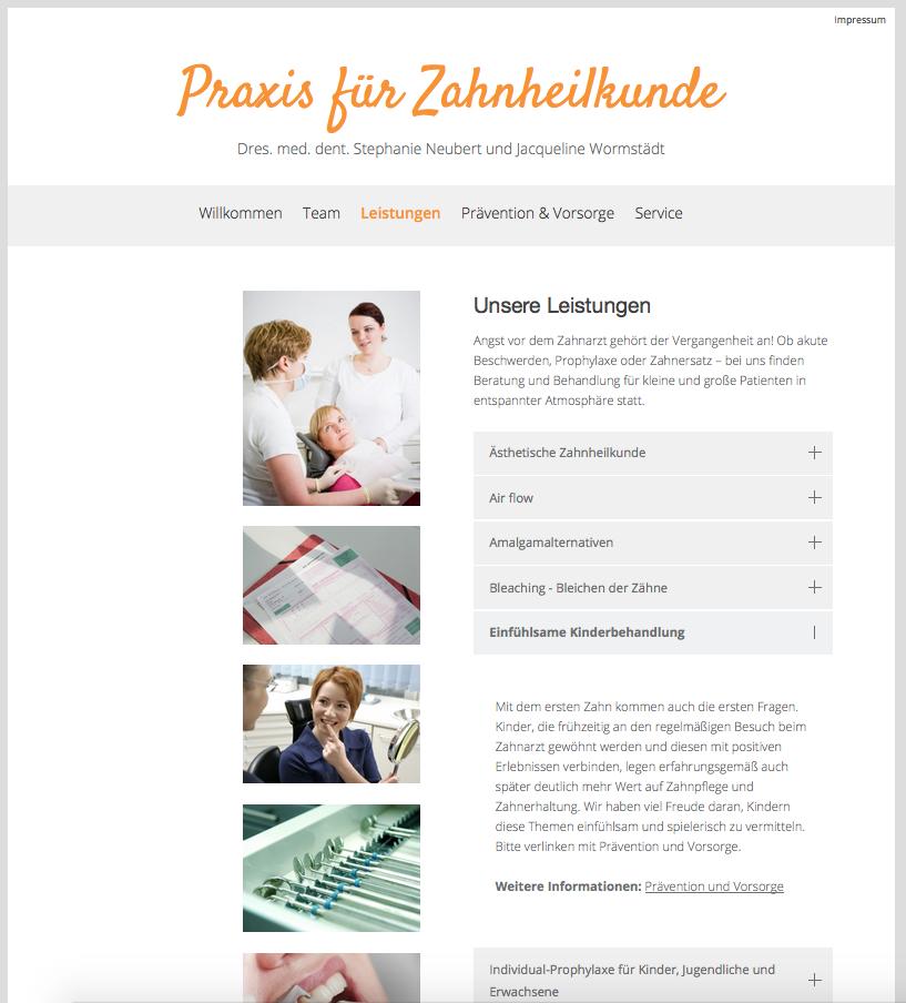 Webseite Praxis für Zahnheilkunde St. Neubert, 2016, Info 2