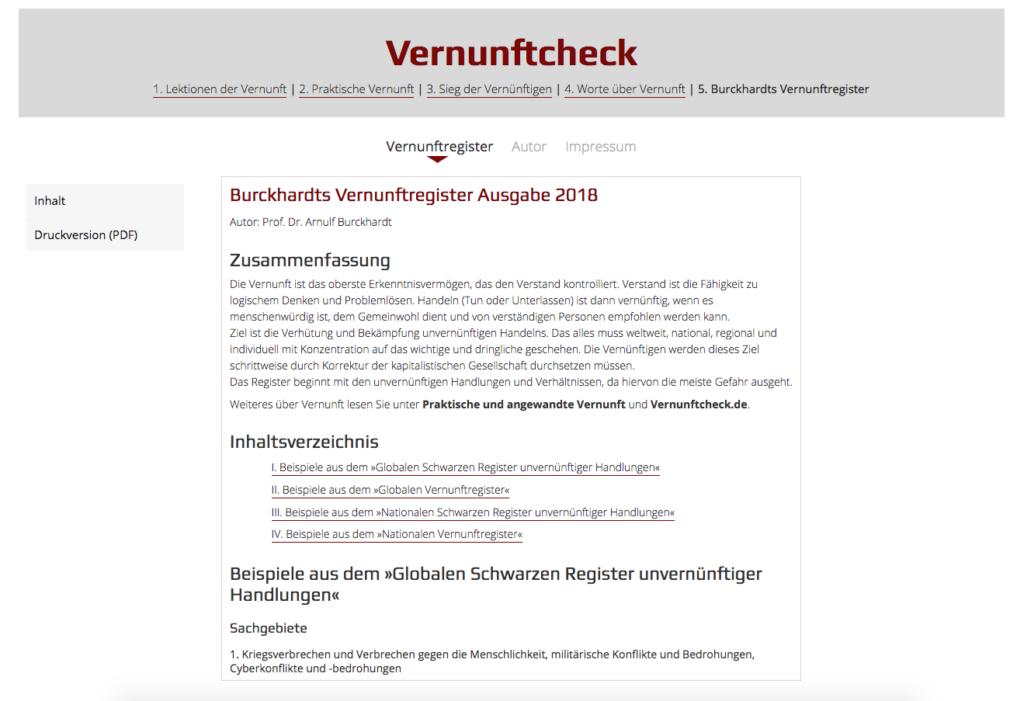 Screenshot Burckhardts Vernunftsregister