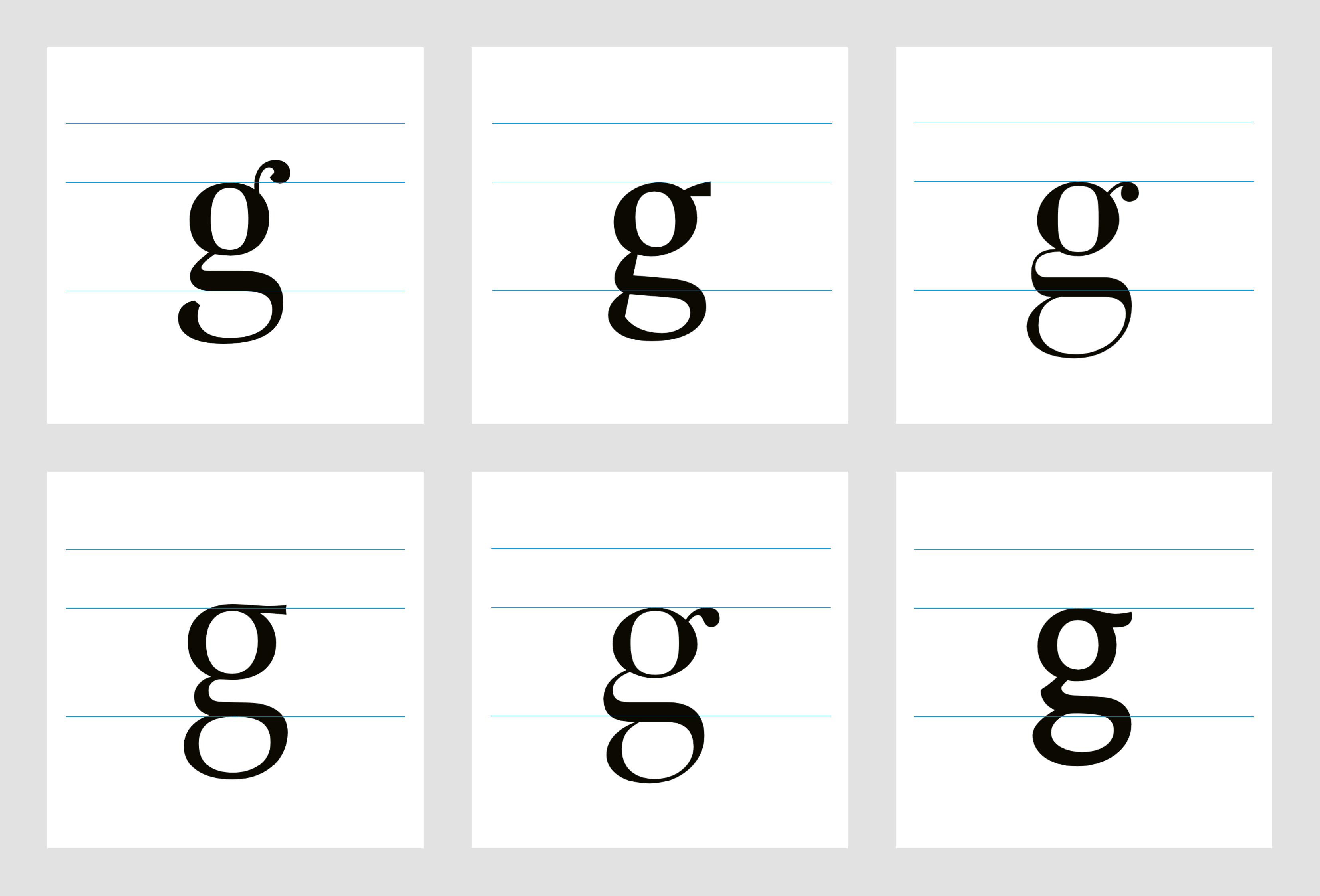 Musterkarte 1 aus: Das kleine g – eine experimentelle Studie