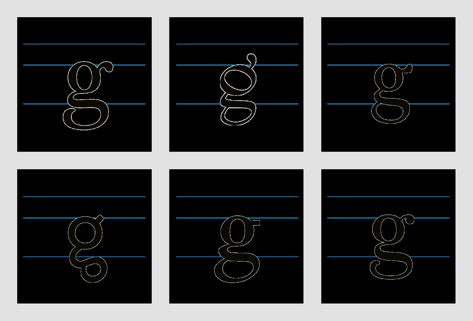 Musterkarte 2 aus: Das kleine g – eine experimentelle Studie