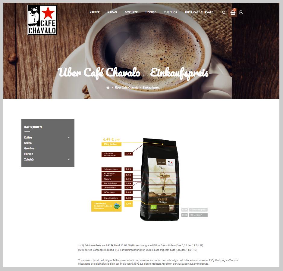 Screenshot Cafe-Chavalo Info-Grafik zur Preisgestaltung des Kaffees, transfair und bio gehandelt