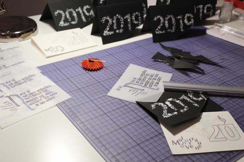 Jahreswechsel 2019-20: Kalligrafie, Scherenschnitt, Malerei, Grafik, 2