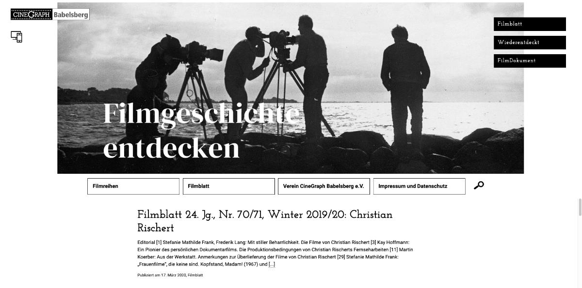 CineGraph, Startseite mit großem Header, 2020
