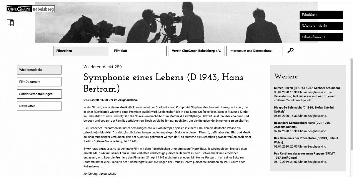 UX-Design, UI-Design, Filmblatt Cinegraph Potsdam, Content,2020