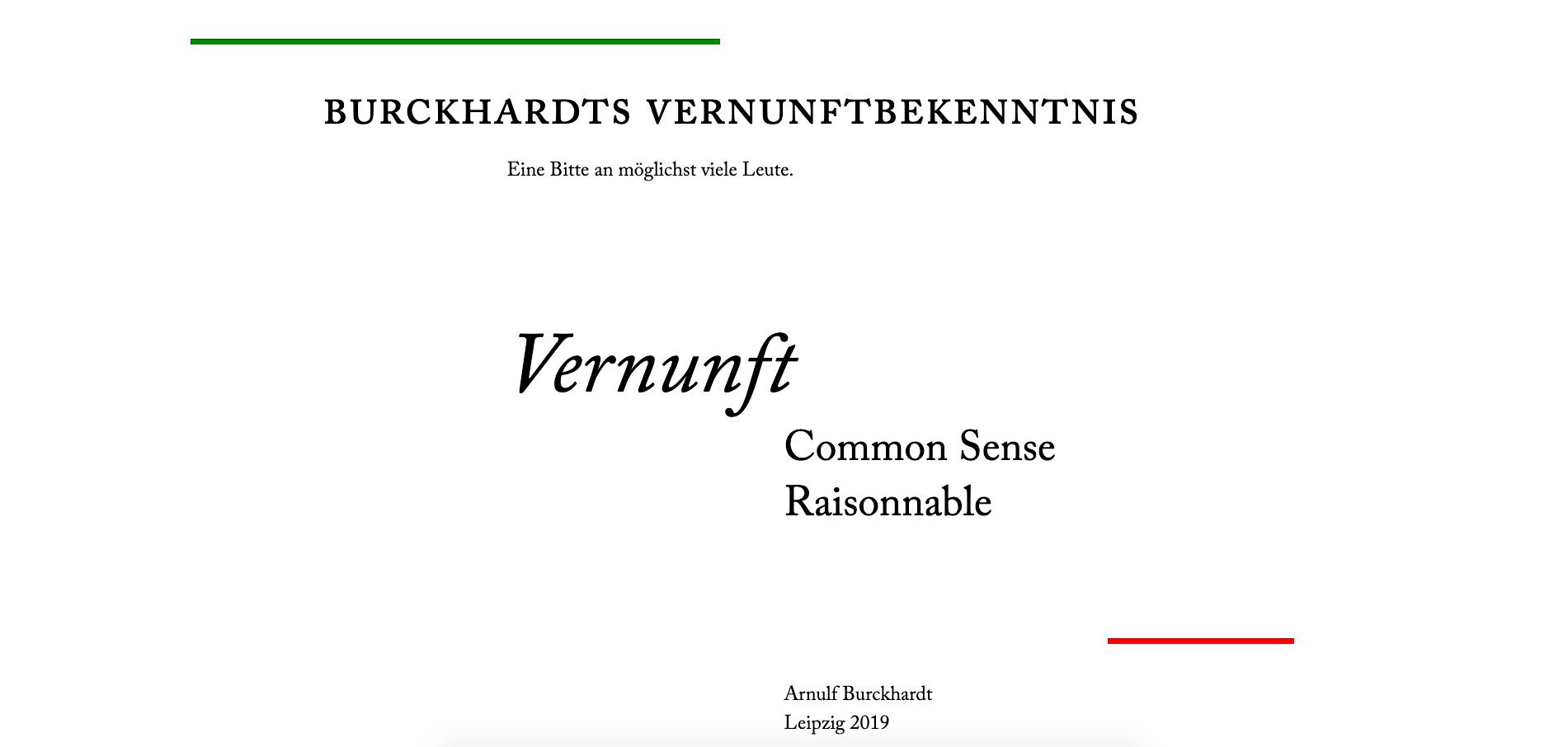 Vernunftbekenntnis, Typogarfische Webseite, 2019, Startbereich
