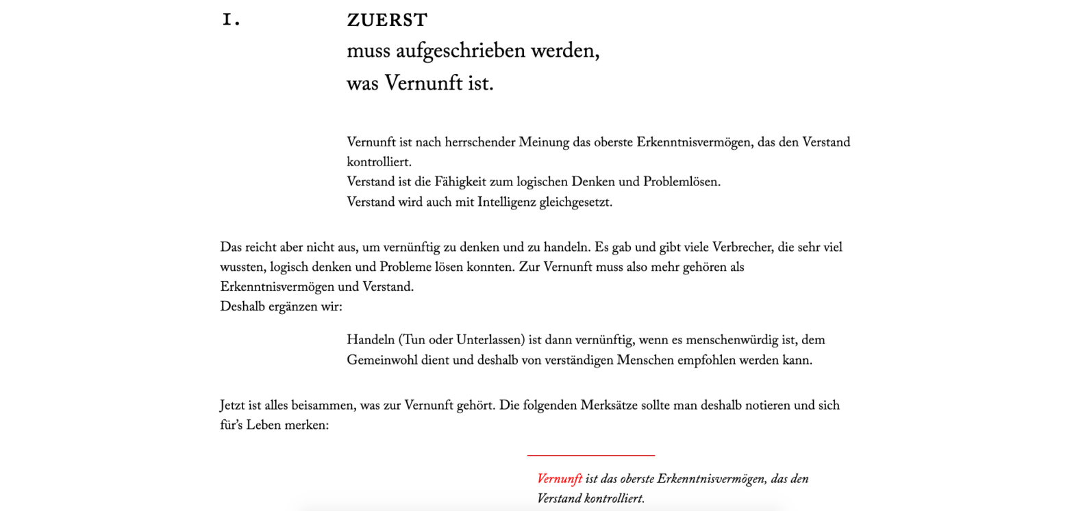 Vernunftbekenntnis, Typogarfische Webseite, 2019, Content