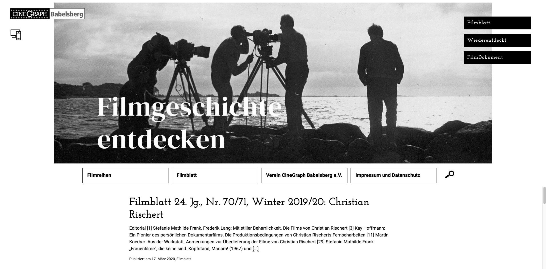 UX-Design, UI-Design Filmblatt Cinegraph Potsdam, Startseite,2020
