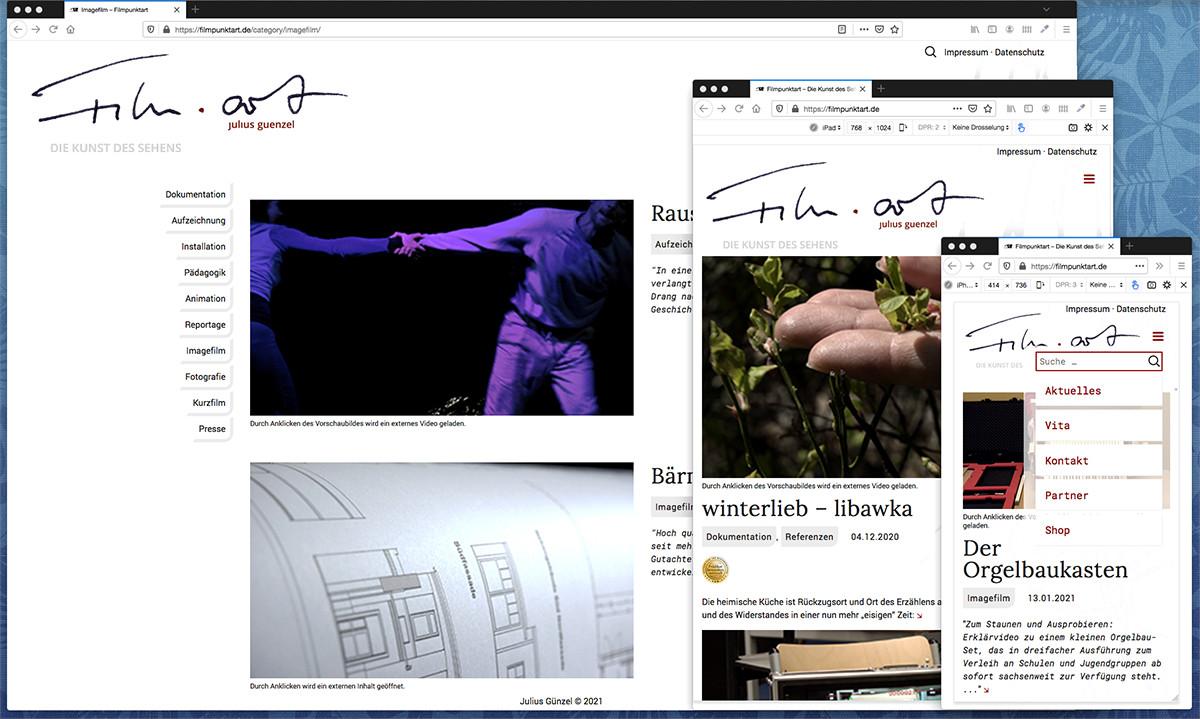 Webseite Filmpunktart