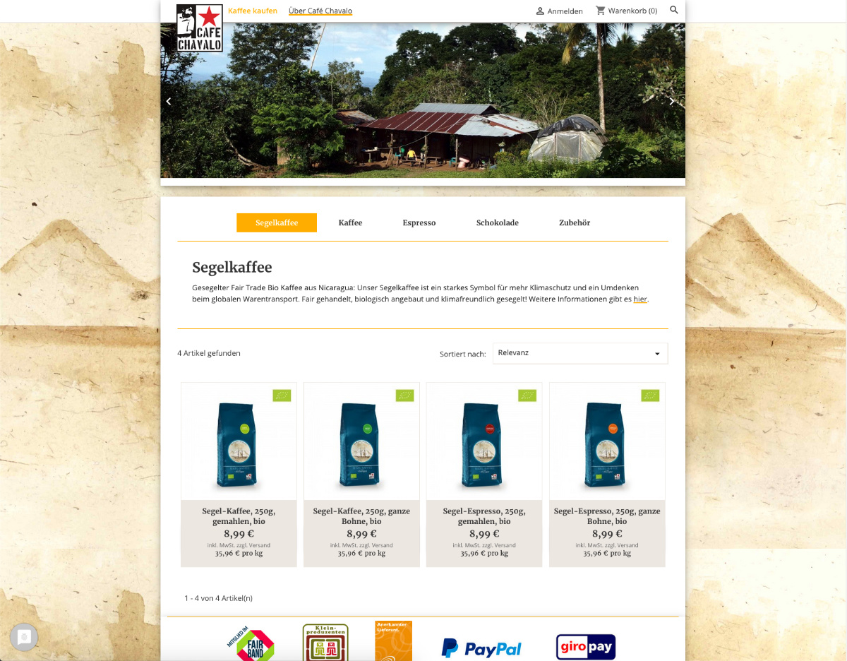 Shopseite Cafe Chavalo Segelkaffee