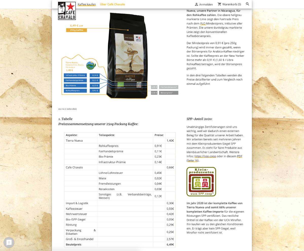 Tabelllen Cafe Chavalo Segelkaffee